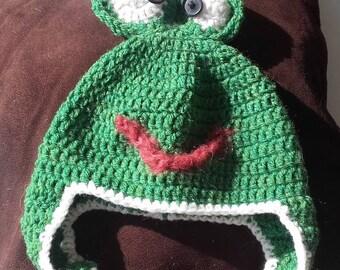 Wool frog awake with earflaps Hat