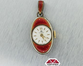 Bucherer Art Deco Sterling Silver Blue Floral w/ Red Enamel 16mm Pendant Watch