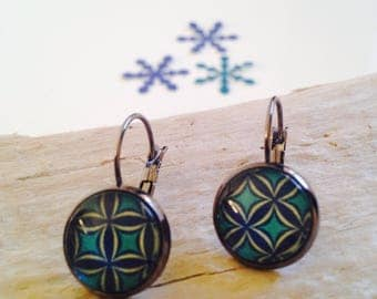 Stud Earrings, green and blue