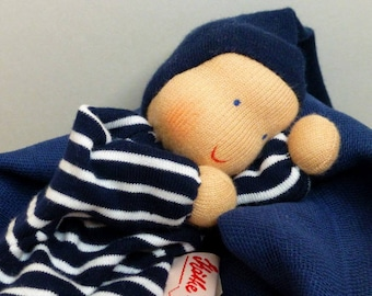 Duo mix Navy blue blanket and cuddly Pixie Waldorf