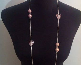 set of necklace and earrings in Silver 925/1000 and pink glass beads