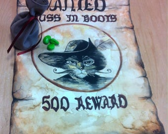 "Painting made wanted poster ""Puss cat"" handmade in acrylic on paper. With a small purse and magic beans in Fimo"