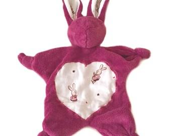 Pink raspberry fleece stuffed Bunny