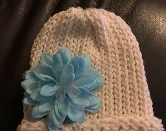 Ivory beanie with removable flower - infant