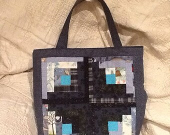 Shopping bag made of logcabin patchwork
