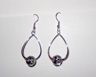 Earrings drops and beads with polka dots