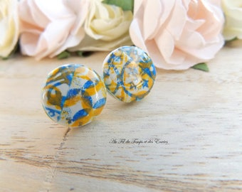 Stud Earring round : Azulejos of Porto yellow and  blue