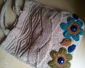 Beige wool crochet bag with large braid and big crochet flowers-handbag-shoulder bags