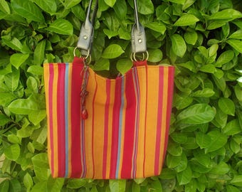 multicolored fabric Beach Tote