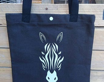 Tote bag handmade white zebra pattern black cotton canvas