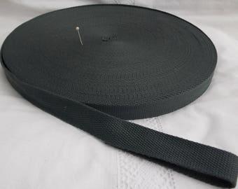 Cotton strap meter width 25 mm or 2.5 cm dark grey charcoal for shoulder strap