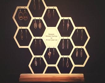 Designer wooden earrings & hexagon earring holder