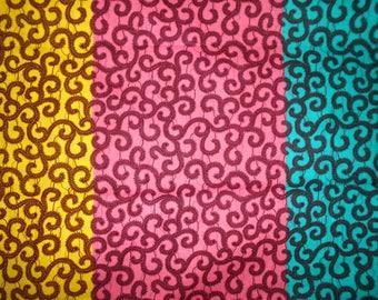 African fabric, Ankara 90cmx116cm 3 colors