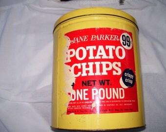 """Vintage Antique Jane Parker Potato Chip Tin Can 1 Pound 99 Cents 8"""" Diameter"""