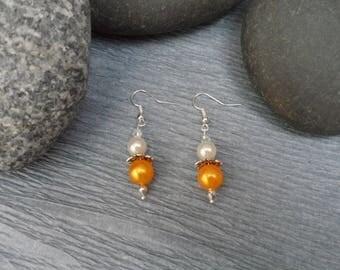 Earrings - orange and ivory - for pierced ears