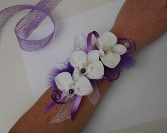 """Flowers for wedding - white and purple - """"Orchid"""" bracelet"""