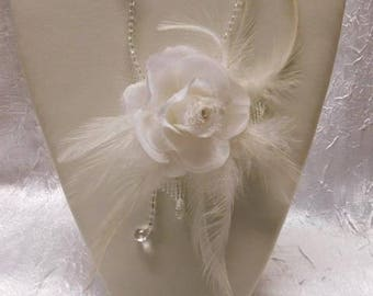 Bridal necklace with feathers and organza flower
