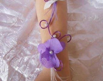 Wedding bracelet bridesmaid jewelry purple coloured aluminum