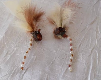 Crab with ivory and Brown Feather hair clips