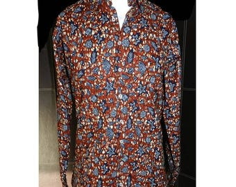 Men's shirt, long sleeves, fabric African print African, Brown and black XS and S