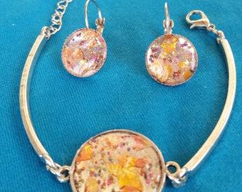 Jewelry Set, art nouvaue,yellow, gold,clear, clear stone, stone, silver bracelet, earrings, silver earrings,handmade, exclusive.
