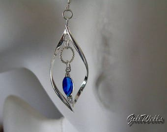 "Earrings ""Twisty blue Sapphire marquise under ring twisted"""