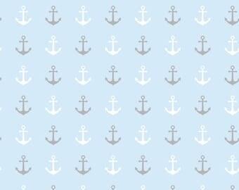 Cotton Jersey maritime anchor light blue