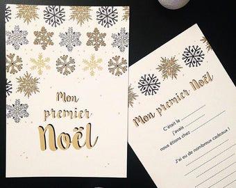 """Carte """"Mon premier Noël"""" carte étapes de bébé"""