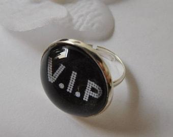 "Ring cabochon black ""VIP"""