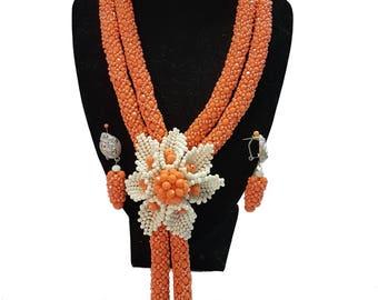 Handmade orange jewellery set