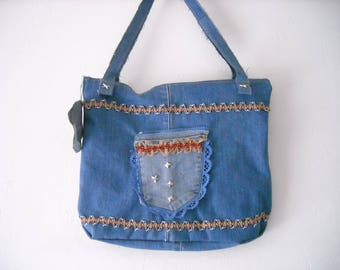 handmade customized original recycled denim bag