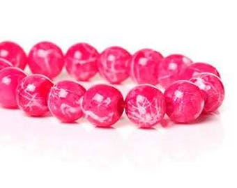 Set of 10 Pink 8mm round glass beads
