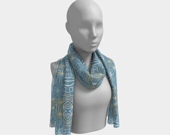 """Beautiful Scarf, Head Scarf, """"Sky Wire Lines, Made to order"""""""