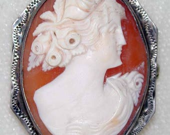 Sterling Silver Cameo Brooch/Pin