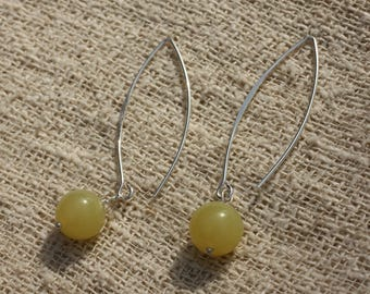 Earrings Silver 925 40mm - lemon Jade 10mm