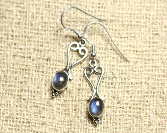 BO208 - 27mm Labradorite hearts 925 Sterling Silver earrings