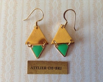Ethnic earrings enamel triangles and gold triangles