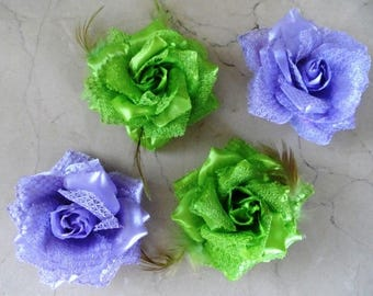 set of 4 8 cm lace satin flower appliques for sewing or craft