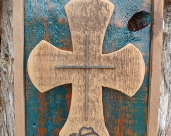 Framed barn wood cross