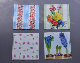set of 4 spring flowers Decoupage european paper napkins, scrapbooking craftwork decoupage supply, serviette, collage paper crat projects