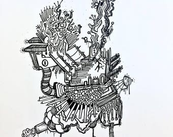 Whimsy Arcade - Original Pen and Ink Drawing