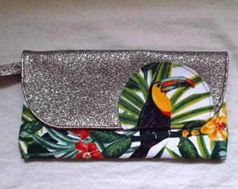 Clutch with wrist strap with a toucan and faux leather golden copper