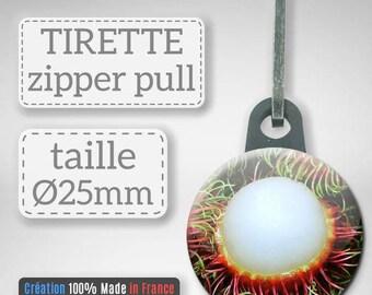 Tirette Fruit Tropical Ramboutan litchi chevelu idée Cadeau Badge Zipper 25 mm