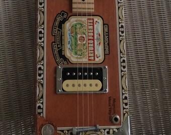 Handmade Electric Cigar Box Guitar 4 string W/ Collector Coin