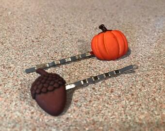 Pumpkin and Acorn Fall Hair Clips