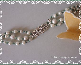 Costume jewelry: bracelet white pearls and Green Pearl and silver