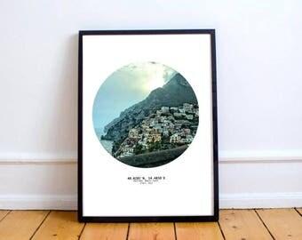 Positano, Amalfi Coast, italy. PRINT. edit your own interior poster wall art.