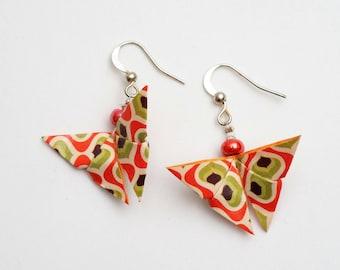 Butterfly paper (origami) clip-on earrings