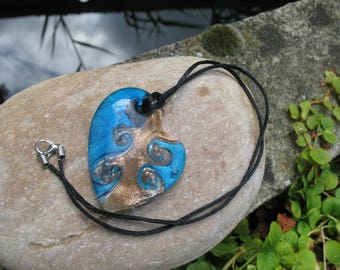 Blue and gold glass heart necklace