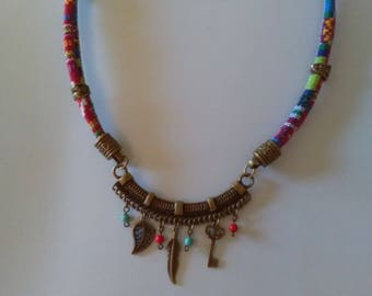 Double asymmetrical necklace style ethnic cord